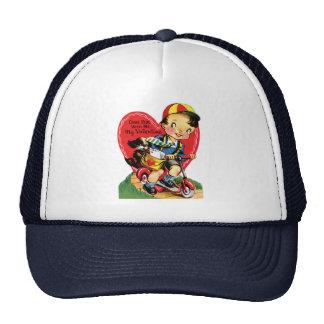 Vintage Cute Valentine's Day, Boy on Scooter Trucker Hat