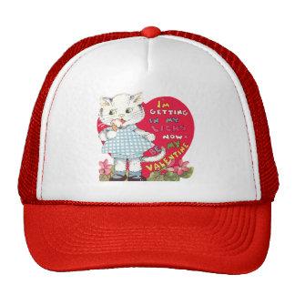 Vintage Cute Valentine's Day, Cat Eating Ice Cream Trucker Hat