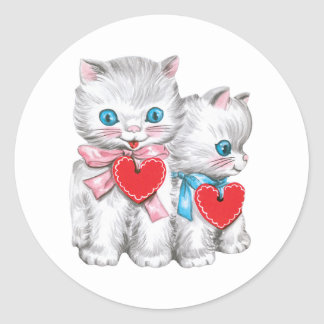 Vintage Cute Valentine's Day Cats, Retro Kitten Classic Round Sticker