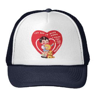 Vintage Cute Valentine's Day, Child Music Banjo Trucker Hat