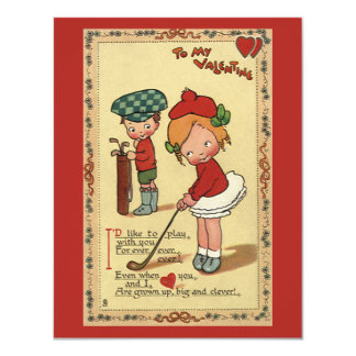 "Vintage Cute Valentine's Day, Children Sports Golf 4.25"" X 5.5"" Invitation Card"