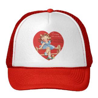 Vintage Cute Valentine's Day, Girl on Fence Trucker Hat