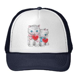 Vintage Cute Valentine's Day, Retro Kitten Cats Trucker Hat