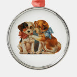 Vintage Cute Valentine's Puppy Love, Two Dog Mutts Silver-Colored Round Ornament