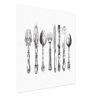 Vintage Cutlery Black White Fork Spoon Knife 1800s Stretched Canvas Prints
