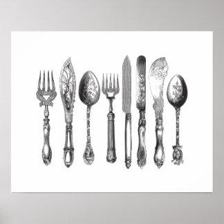 Vintage Cutlery Black White Fork Spoon Knife 1800s Poster