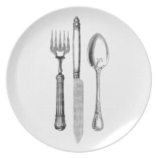 Vintage Cutlery Illustration Plate