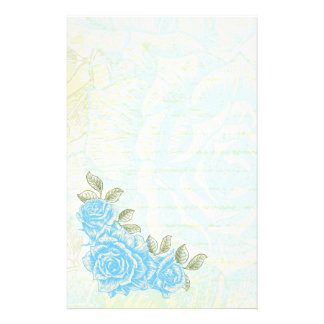 Vintage cyan blue roses floral custom stationery