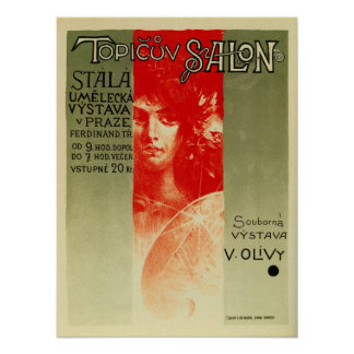 Vintage Czech Art salon expo Prague Poster
