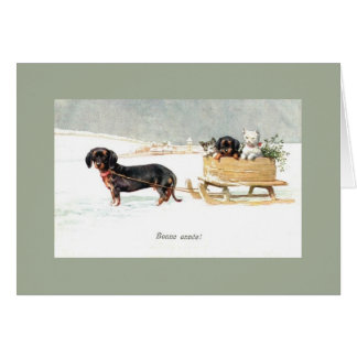 Vintage Dachshund and Kittens French New Year Card