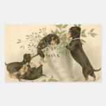 Vintage dachshund dogs christmas holiday sticker