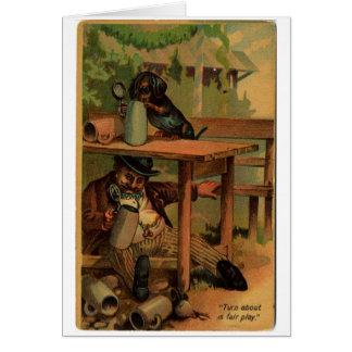 Vintage Dachshund Drinking Buddies, Card