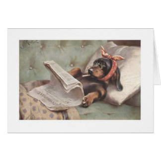 Vintage Dachshund on the Couch (Blank Inside), Card