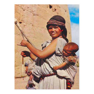Vintage, Dades, mother and children at work Postcard