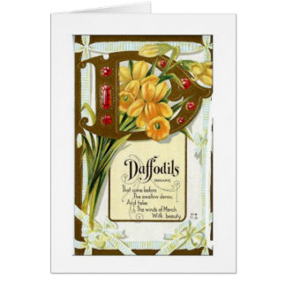 Vintage Daffodils Jar Label Thinking of You Card