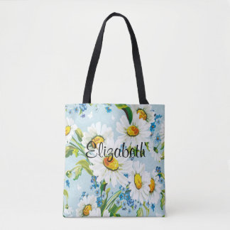 Vintage Daisies Floral Tote Bag CUSTOMIZABLE