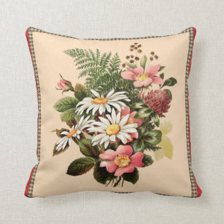 Vintage Daisy Bouquet Throw Pillow