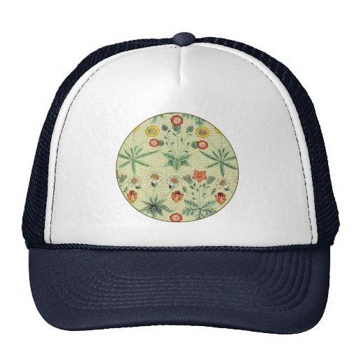 Vintage Daisy Floral Pattern Designer Wallpaper Hats