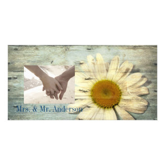 vintage daisy western country wedding thank you photo cards
