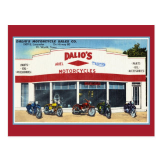 Vintage Dalio's Motorcycles Fort Worth Postcard