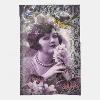 Vintage damask 1920s Paris Lady Flapper Girl Kitchen Towel