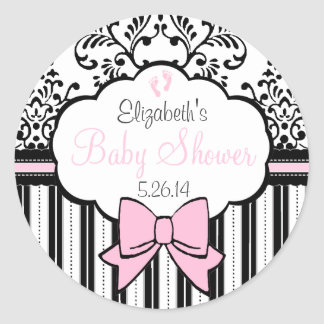 Vintage Damask and Stripes Pink Baby Shower Round Sticker