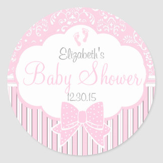Vintage Damask and Stripes-Pink Baby Shower Round Sticker