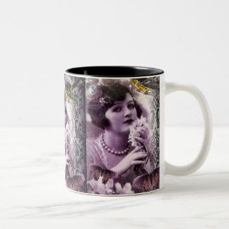 Vintage damask art deco gatsby Flapper Girl Two-Tone Coffee Mug