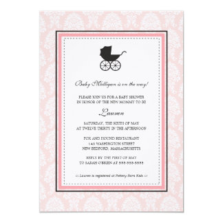 """Vintage Damask Baby Carriage Baby Shower 5"""" X 7"""" Invitation Card"""
