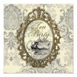 Vintage Damask Bridal Shower Tea Party Invitation