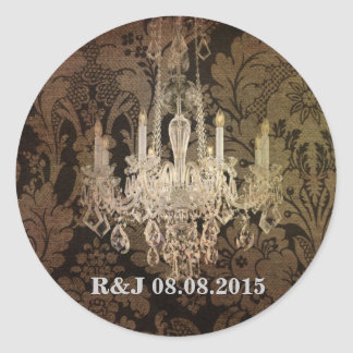 vintage damask chandelier wedding round sticker