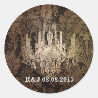 vintage damask chandelier wedding round sticker