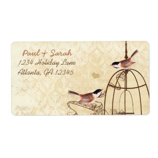Vintage Damask Chickadees Brown Bird Cage Shipping Label