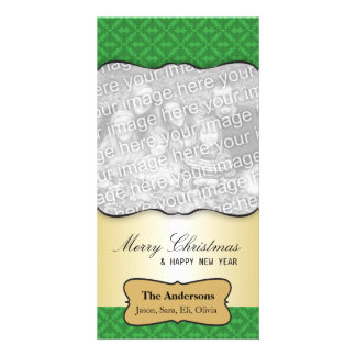 Vintage Damask Christmas Greeting Photo Card