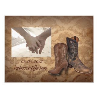 vintage damask Cowboy Boots Country wedding Photo