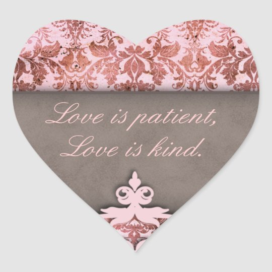 Vintage Damask Elegant Save the Date Heart Sticker