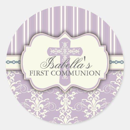 Vintage Damask First Communion Sticker | Purple