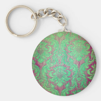 Vintage damask green red nouveau style textile fun keychain