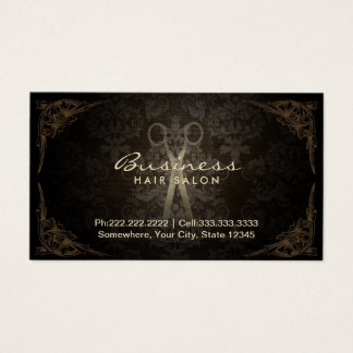 Vintage Damask Hair Stylist Salon Appointment Business Card
