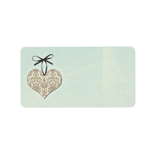 Vintage Damask Heart Mint Wedding Blank Address