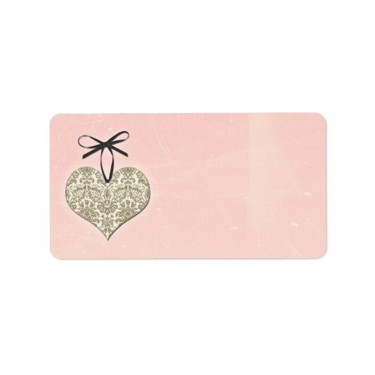 Vintage Damask Heart Pink Wedding Blank Address