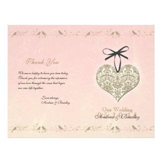 Vintage Damask Heart Wedding Program