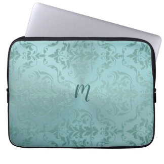 Vintage Damask in Pale Aqua Antique Laptop Sleeve