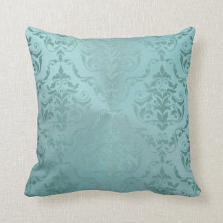Vintage Damask in Pale Aqua Antique Throw Pillow