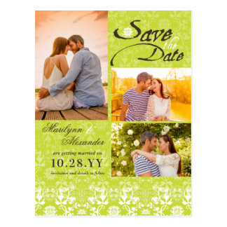 Vintage Damask Lace Lime Green Photo Save The Date Postcard