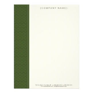 Vintage Damask Lime Green Customized Letterhead