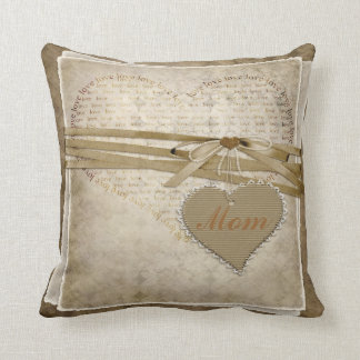 Vintage Damask Love Paper & Hearts Mom Pillow