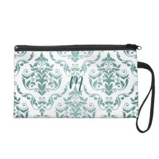 Vintage Damask Monogram in Pale Aqua Antique Wristlet