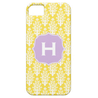 Vintage Damask Monogram Phone Case - Yellow Purple iPhone 5 Cases