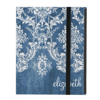 Vintage Damask Pattern - Grungy Sapphire Blue iPad Folio Cover
